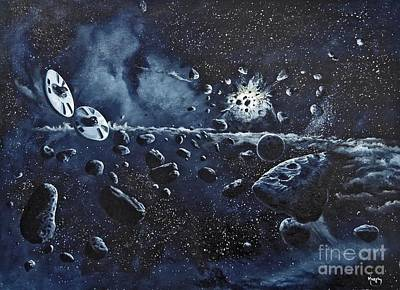 Asteroid Painting - Alien Saucers Playing Dodge Rock by Murphy Elliott