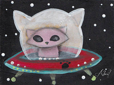 Pop Surrealism Painting - Alien Saucer Cat by Abril Andrade Griffith