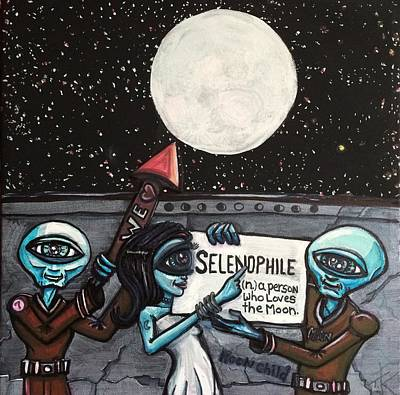 Painting - Alien Selenophiles by Similar Alien