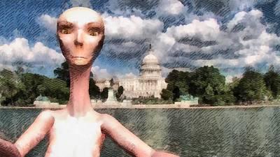 Alien Selfie In Washington Art Print