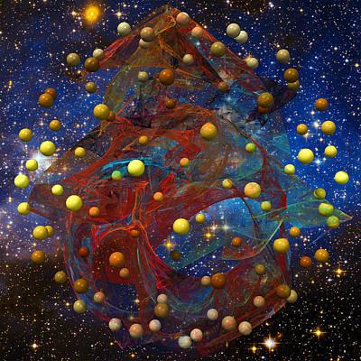 Contemplative Mixed Media - Alien Solar System by Mark W Ballard