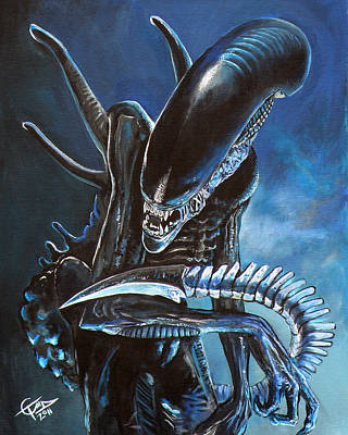 Horror Movies Painting - Alien by Tom Carlton