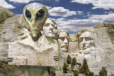 Ufo Photograph - Alien Vacation - Mount Rushmore by Mike McGlothlen
