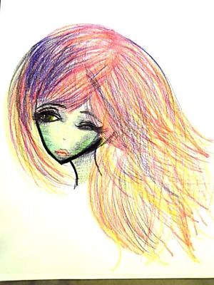 Alien Drawing - Alien Vivid Hair Girl by Summer McGaha