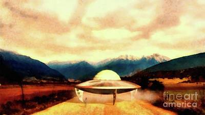 Monster Ufo Wall Art - Painting - Alien With Craft by Raphael Terra