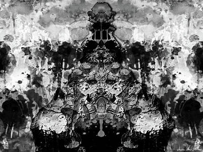 Digital Art - Aliena - Monochromatic by Iowan Stone-Flowers