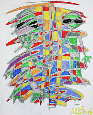 Colorful Abstract Drawing - Alienopoly by Laura Barbosa