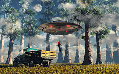 Aliens Abducting A Man Into A Flying Art Print