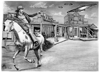 Flying Saucers Painting - Aliens And Cowboys by Murphy Elliott