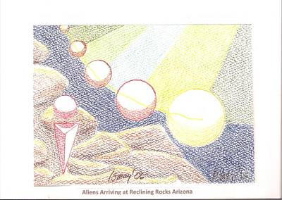 Drawing - Aliens Arriving At Reclining Rocks Arizona by Rod Ismay