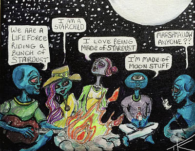 Painting - Aliens By The Campfire by Similar Alien