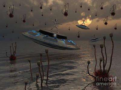 Surreal Artwork Digital Art - Aliens Celebrate Their Annual Harvest by Mark Stevenson
