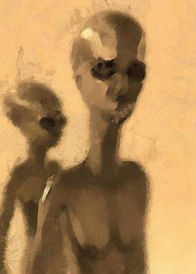 Strange Days Painting - Aliens Facing by Esoterica Art Agency