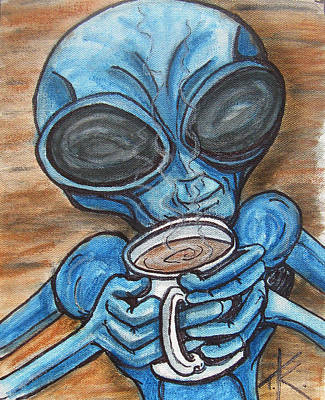 Painting - Aliens Love Coffee by Similar Alien