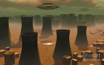 Aliens Visiting A Nuclear Power Station Art Print by Mark Stevenson