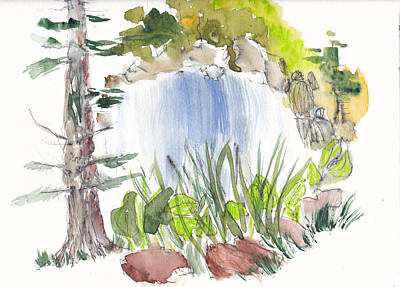 Nature Center Drawing - Alison's Waterfall by B L Qualls
