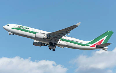 Commercial Photograph - Alitalia Airbus A330-200 Departed From Milano Malpensa by Roberto Chiartano