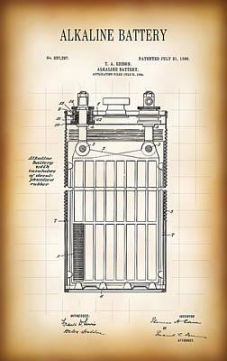 Alkaline Battery Patent 1906 Art Print by Daniel Hagerman