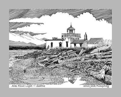 Seattle Drawing - Alki Point Lighthouse Seattle by Jack Pumphrey