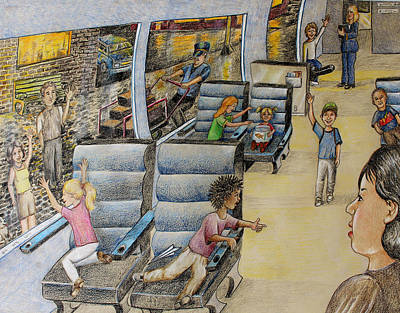 Drawing - All Aboard by Larry Whitler