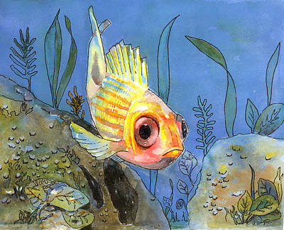All Alone - Squirrel Fish Art Print by Arline Wagner
