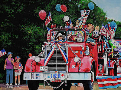 Old Fire Trucks Painting - All American Parade  by Bill Dunkley