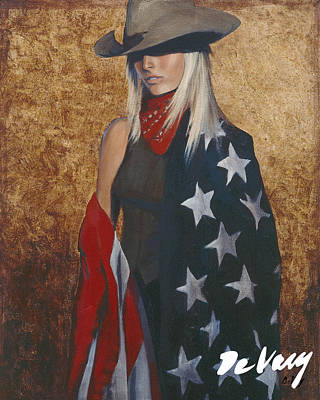 Beautiful Western Cowgirl Painting - All American by David DeVary