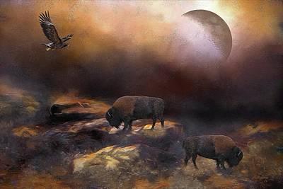 Bison Digital Art - All American by Ericamaxine Price