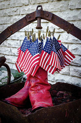 Photograph - All American Flag And Red Boots by Debra Martz