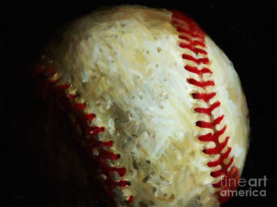 Major League Baseball Digital Art - All American Pastime - Baseball - Painterly by Wingsdomain Art and Photography