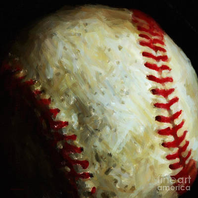 Pastimes Photograph - All American Pastime - Baseball - Square - Painterly by Wingsdomain Art and Photography