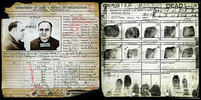 Capone Photograph - All Capone Booking Sheet by Jon Neidert