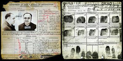 Al Capone Photograph - All Capone Booking Sheet by Jon Neidert