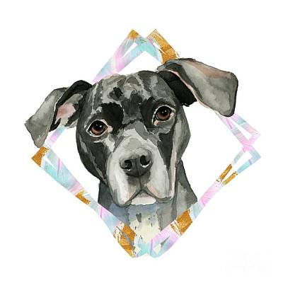 Watercolor Pet Portraits Mixed Media - All Ears by NamiBear