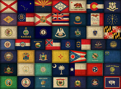 Usa Flag Mixed Media - All Fifty States Of The United States Flags Art by Design Turnpike