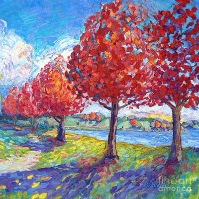 Contemplative Painting - Autumn All Fired Up by Peggy Johnson