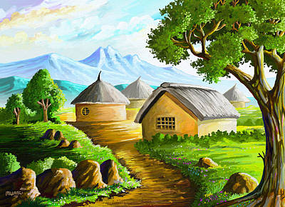 Africa Painting - All Gone To Farm by Anthony Mwangi