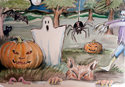 Painting - All Hallows Eve by Al G Smith