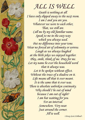 Mixed Media - All Is Well Condolence Poem Sympathy Gift by Injete Chesoni