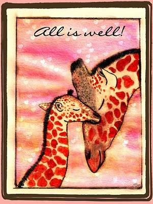 Mother And Baby Giraffe Painting - All Is Well by Lori Blevins