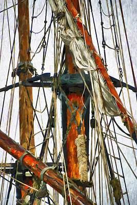 Digital Art - All Masts by Karo Evans