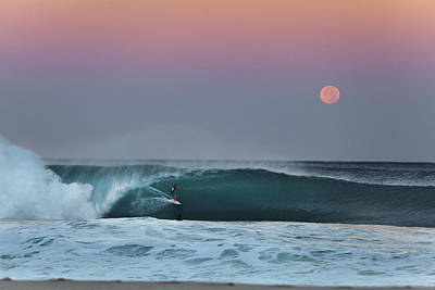 Full Moon Surfer Art Print by Sean Davey