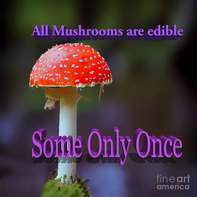 Toadstool Digital Art - All Mushrooms Are Edible. Some Only Once  by Humorous Quotes