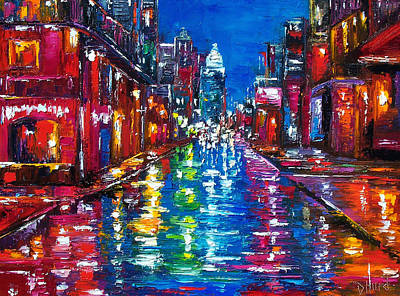 City Street Painting - All Night Long by Debra Hurd