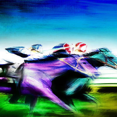 Horse Racing Mixed Media - All Out 2 by Shevon Johnson