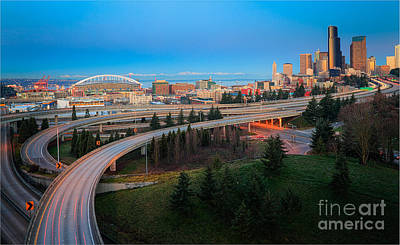 Freeway Photograph - All Roads Lead To Seattle by Inge Johnsson