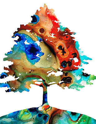 Winter Trees Mixed Media - All Seasons Tree 3 - Colorful Landscape Print by Sharon Cummings