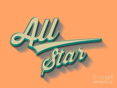 All Star Drawing - All Star Tee by Edward Fielding