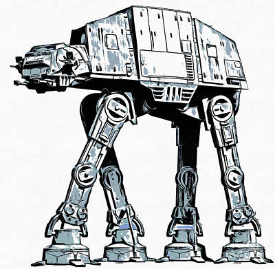 Science Fiction Royalty-Free and Rights-Managed Images - All Terrain Armored Transport AT AT walker by Edward Fielding