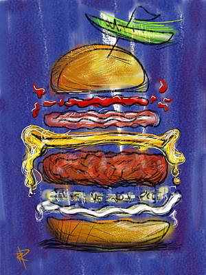 Hamburger Digital Art - All The Fixings by Russell Pierce